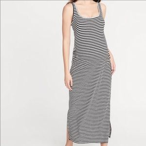Old Navy Black White Striped Maternity Maxi Dress